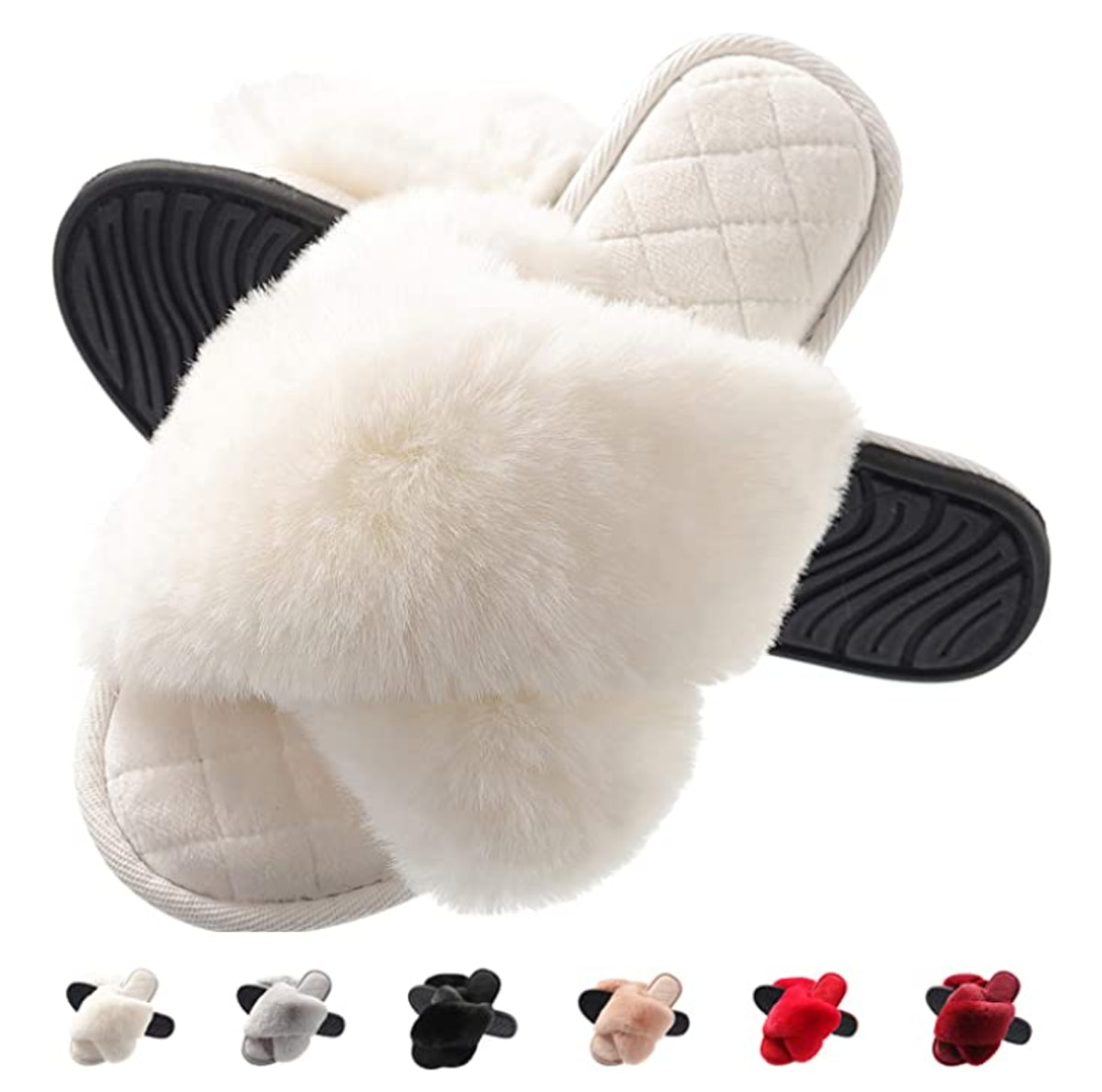 COCOHOME Women's Cross Band Fuzzy Slippers