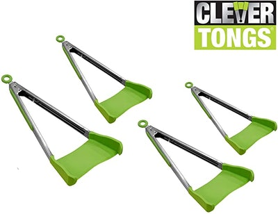 Clever Tongs 2 In 1 Kitchen Spatula (4-Pack)