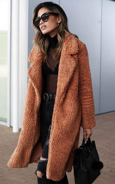 Besshopie Fuzzy Fleece Cardigan Jacket