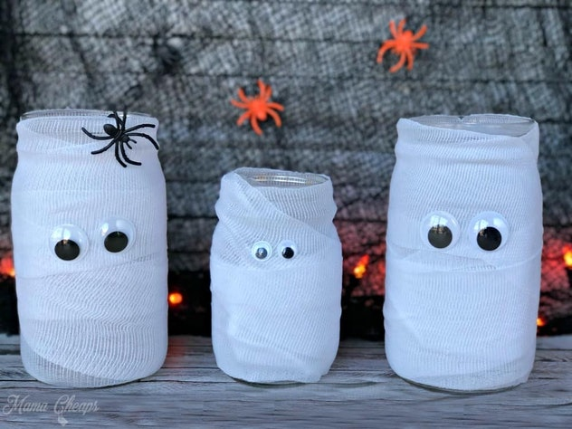 These mummy mason jars are the perfect way to add some spooky glow to your home.