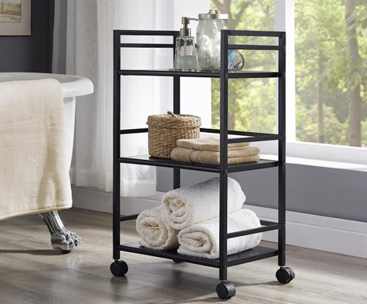 Ameriwood Home Marshall 3-Shelf Metal Rolling Cart