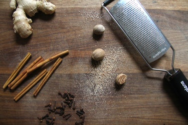 Ginger, cinnamon, cloves, and whole nutmeg