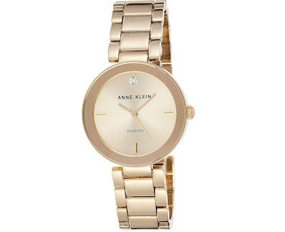 Anne Klein Diamond Dial Gold-Tone Watch