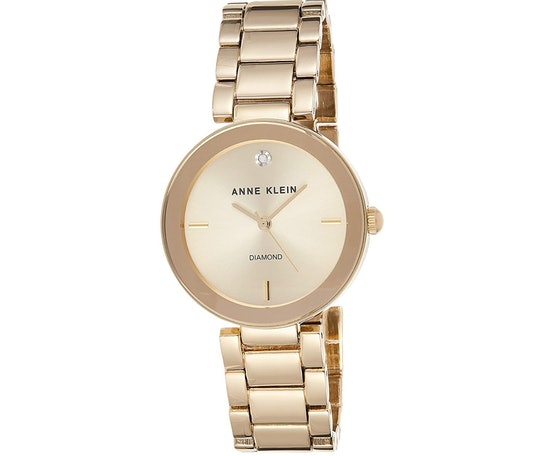 Anne Klein Diamond Dial Gold-Tone Watch