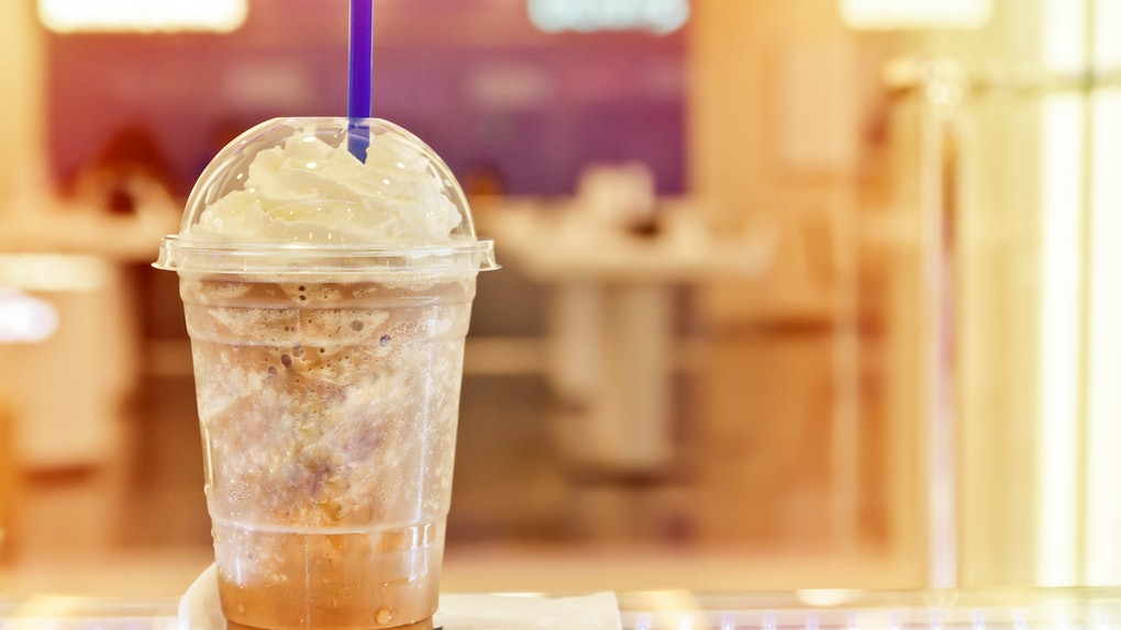 Mocha Frappe with soft blur background in vintage style.