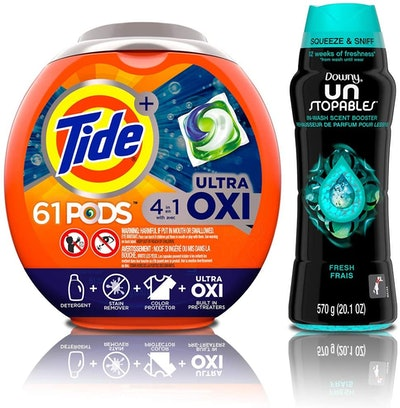 Tide PODS (61-Pack) & Downy Unstopables Booster Beads, 20.1Oz.