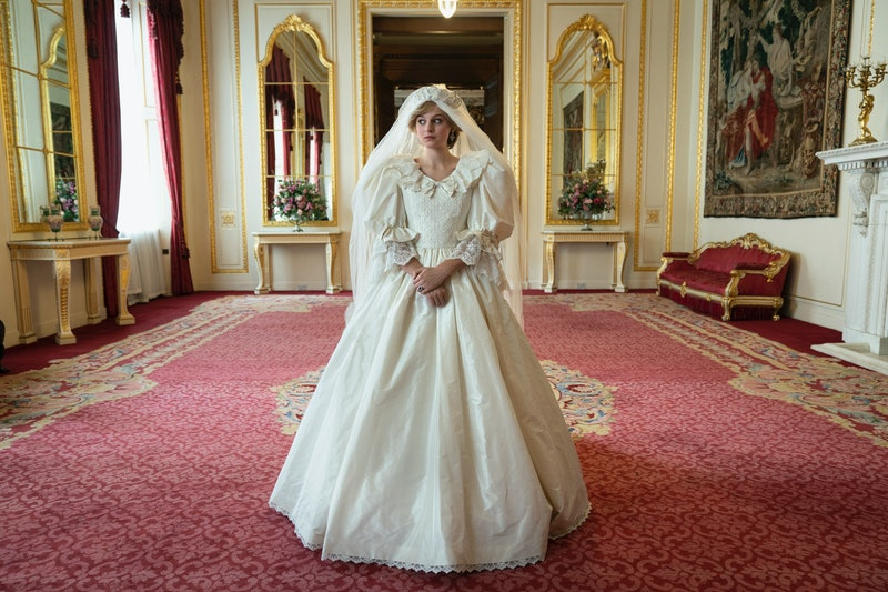 Emma Corrin as Princess Diana in her wedding dress, The Crown Season 4