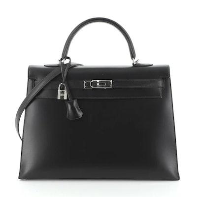 Kelly Handbag Noir Box Calf with Palladium Hardware 35