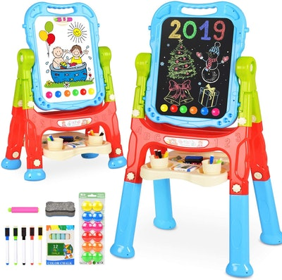 BATTOP Art Easel for Kids, 360° Rotate Double Sided Standing Art Drawing Board, Two Height Adjustable Painting Easel for Kids w/Accessories for Kids...
