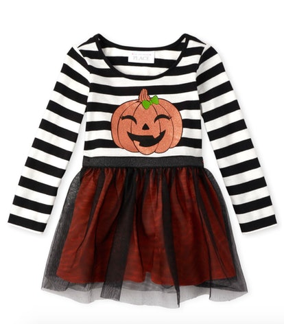 Baby And Toddler Girls Halloween Glitter Pumpkin Knit To Woven Dress