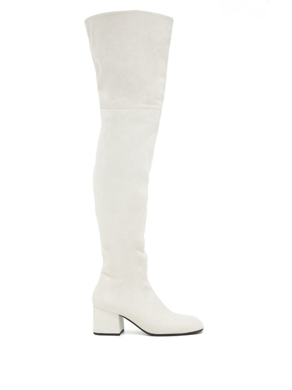 Zipped Suede Over-The-Knee Boots
