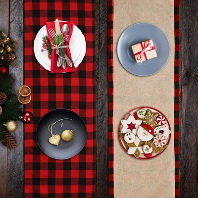 Reversible Buffalo Plaid Christmas Table Runner