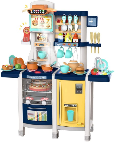 UNIH Toys for Kids Play Kitchen Pretend Kitchen Playset Toddler Toy with Realistic Lights & Sounds,Play Oven & Sink,Coffee Toy Set,Kids Phone and Other Kitchen Accessories Blue Toys for Girls and Boys