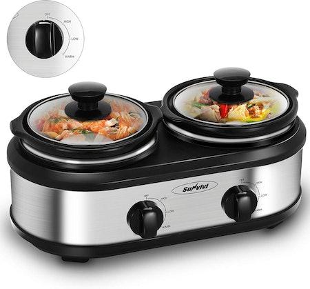 HeyNemo Dual Crock Pot Slow Cooker Buffet Server,