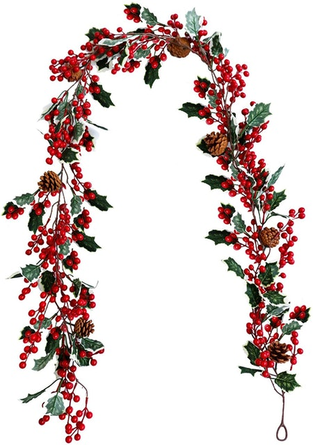 TICLOOC 6.4FT Red Berry Christmas Garland with Pine Cone Greenery