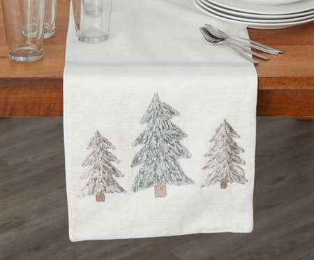 Trees Embroidered Table Runner