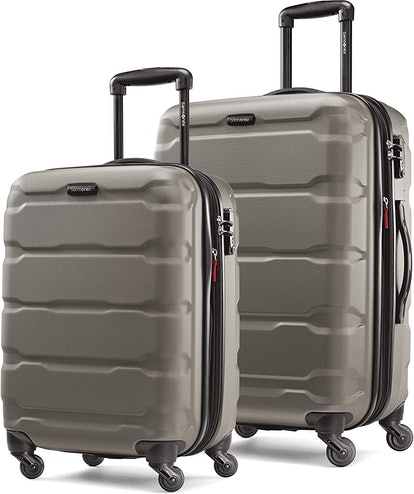 Samsonite Omni PC Hardside Expandable Luggage with Spinner Wheels, Silver, 2-Piece Set