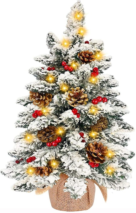 TURNMEON 24 Inch Tabletop Christmas Tree with 50 Warm White Lights Battery Operated Snow Flocked Pre-lit Mini Small Christmas Tree