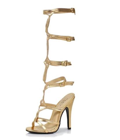 """Ellie Shoes 5"""" Heel Knee High Strap Up Sandal."""