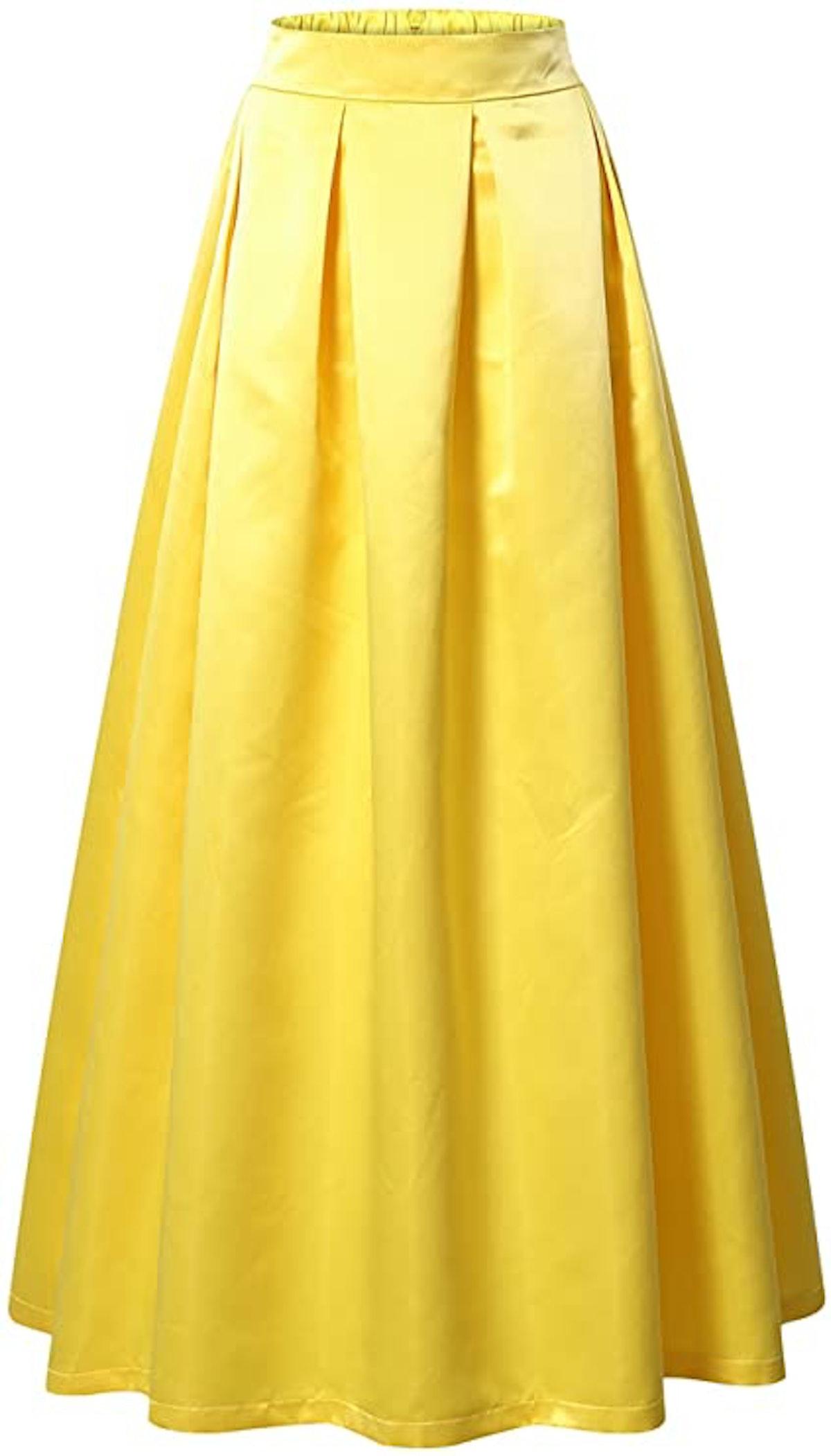 VETIOR Women's Elastic High Waist A-line Flared Maxi Skirt