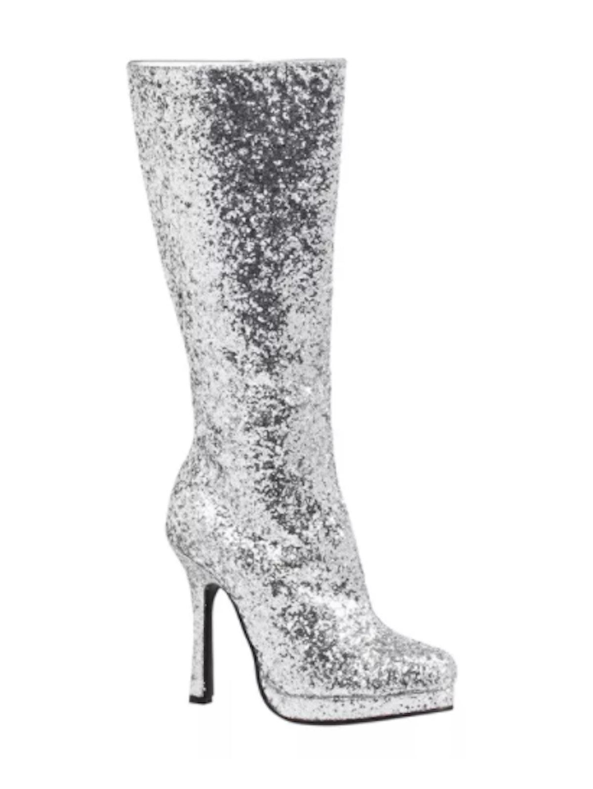Silver Glitter Costume Boots