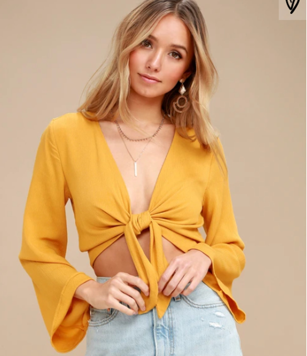 Weekend Wishes Mustard Yellow Tie-Front Long Sleeve Crop Top