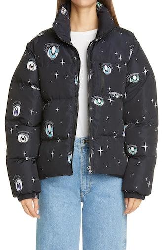 Luna Eye Print Puffer Jacket