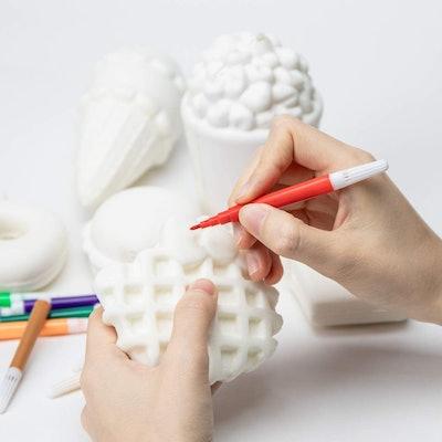 MALLMALL6 10Pcs DIY Slow Rising Food Squishies Kit Set Blank Squishies Bulk Art Crafts Kits for Kids Dessert Ice Cream White Squishys to Paint 12 Color Pen...