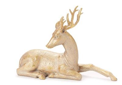 Bronze Sitting Deer Tabletop Decor
