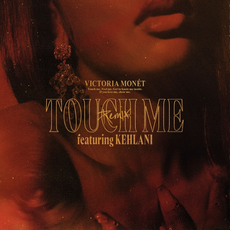 "The cover art for the ""Touch Me"" remix, which features a close-up shot of Victoria Monét's face."