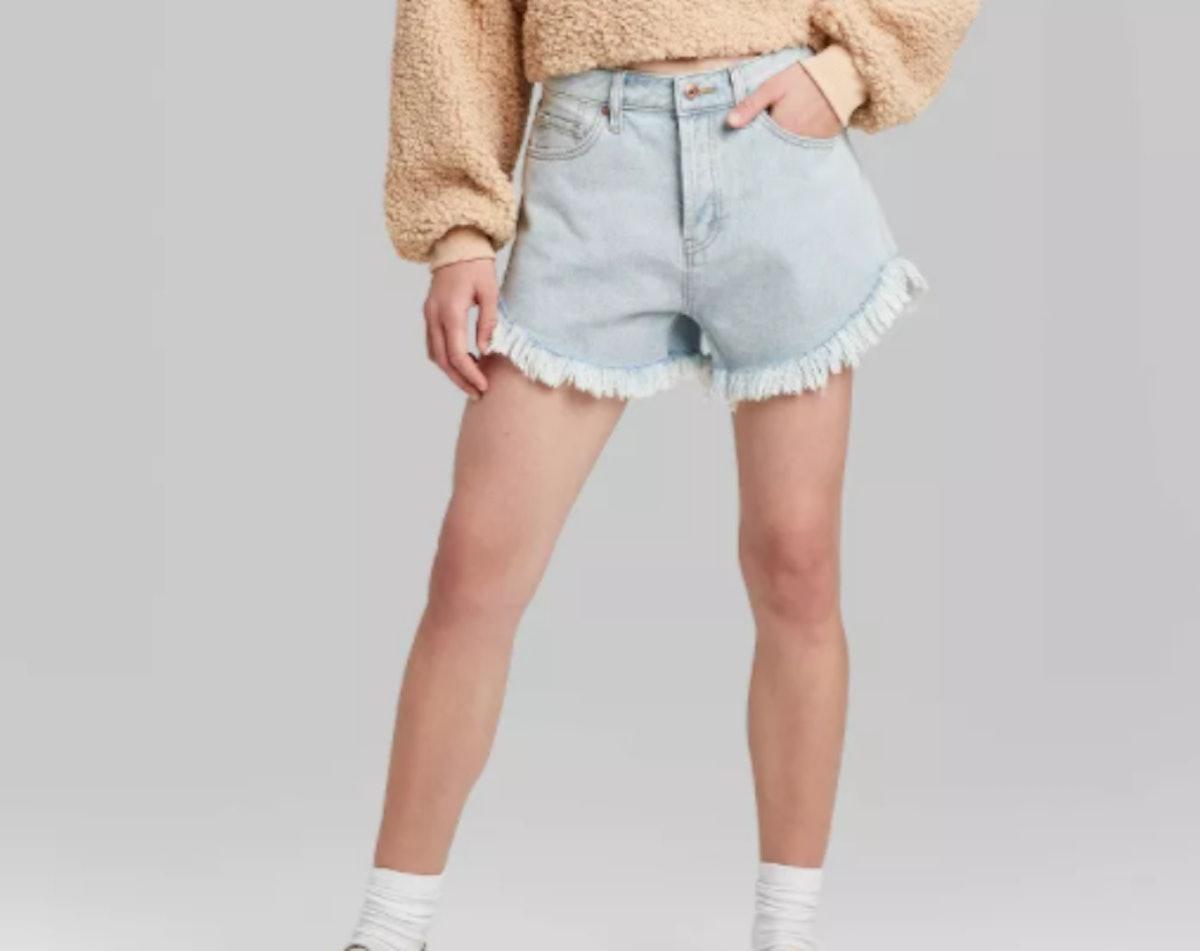 Women's High-Rise Frayed Hem Jean Shorts