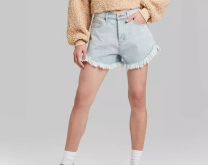 Women's High-Rise Frayed Hem Jean Shorts