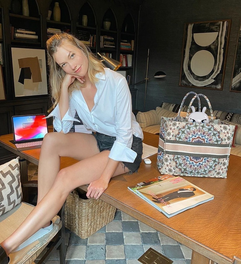 Karlie Kloss' office is proof you should try a dining room table as your desk