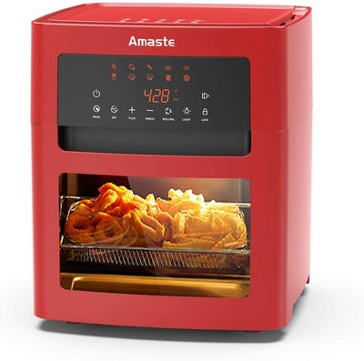 Amaste Air Fryer, 16 Quart XL Size, 1500-W Electric Airfryer, 10-in-1 Smart Cook Presets with LED Digital Touchscreen Rotisserie Oven, Countertop Oven with Adjustable Timer & Temp, Freidora de Aire with Dishwasher Safe Accessories & Recipe Included, RED