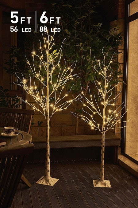 EAMBRITE Pack of 2, 5FT 6FT White Birch Tree Set Christmas Tree Combo Kit