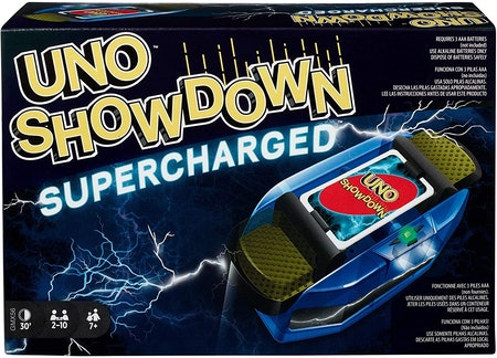 Mattel Games UNO Showdown Supercharged Family Card Game with 112 Cards & Showdown Supercharged Unit for Ages 7 Years Old & Up