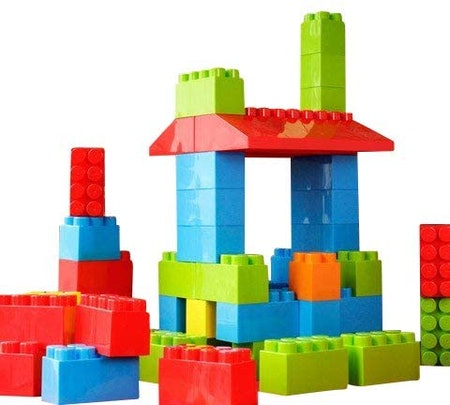 MassBricks Jumbo Plastic Building Blocks - 86 Pieces Giant Toddler Bricks Kids, Boys, Girls Age 1 - 8 Play Large Educational, Construction, Stacking Toys BPA Free Storage bin for (1 Pack)