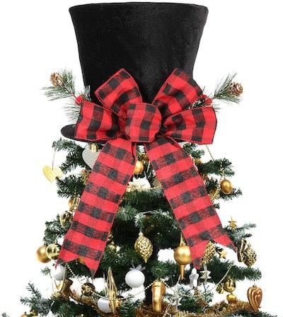 HMASYO Christmas Tree Topper Hat - Christmas Black Velvet Bowler Derby Hat