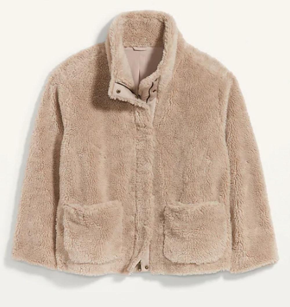 Cozy Teddy-Sherpa Plus-Size Jacket