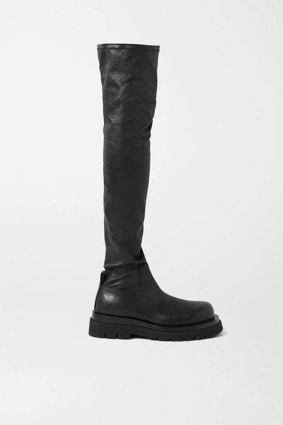 Rubber-Trimmed Leather Over-The-Knee Boots