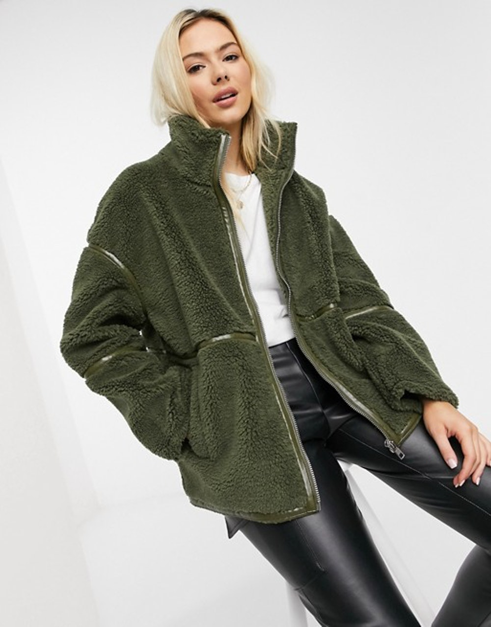 Sherpa Zip Up Jacket with Patent Binding