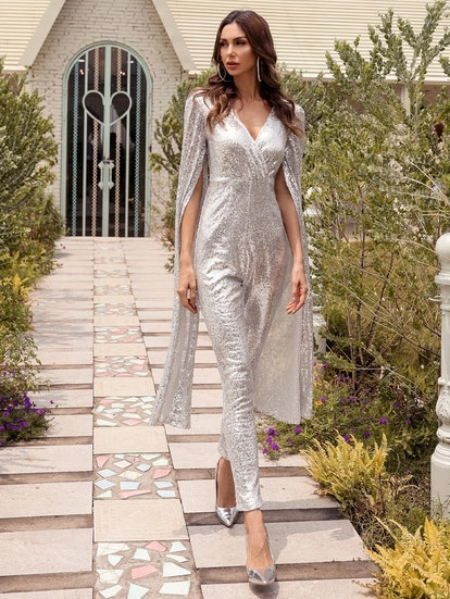Missord Split Sleeve Sequin Jumpsuit