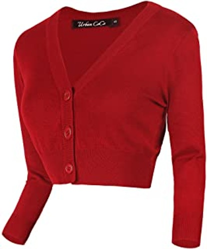 Urban CoCo Women's Cropped Cardigan V-Neck Button Down Knitted Sweater 3/4 Sleeve