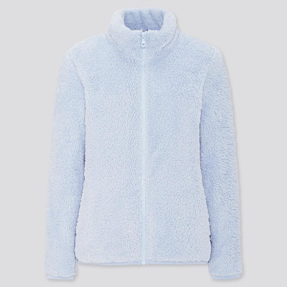 Women Fluffy Yarn Fleece Full-Zip Jacket