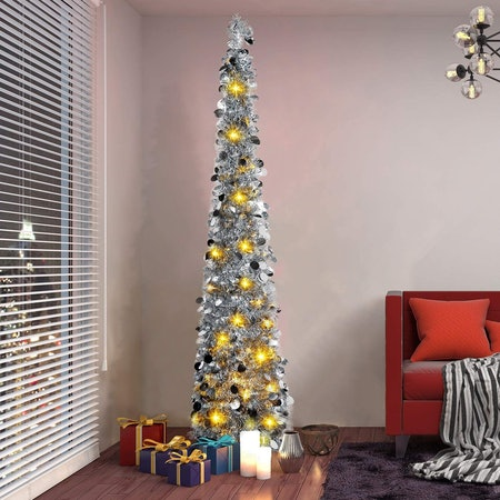 Pop Up Tinsel Christmas Tree with Lights