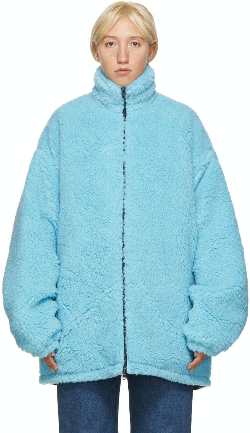 Blue Fleece Oversized Zip-Up Jacket