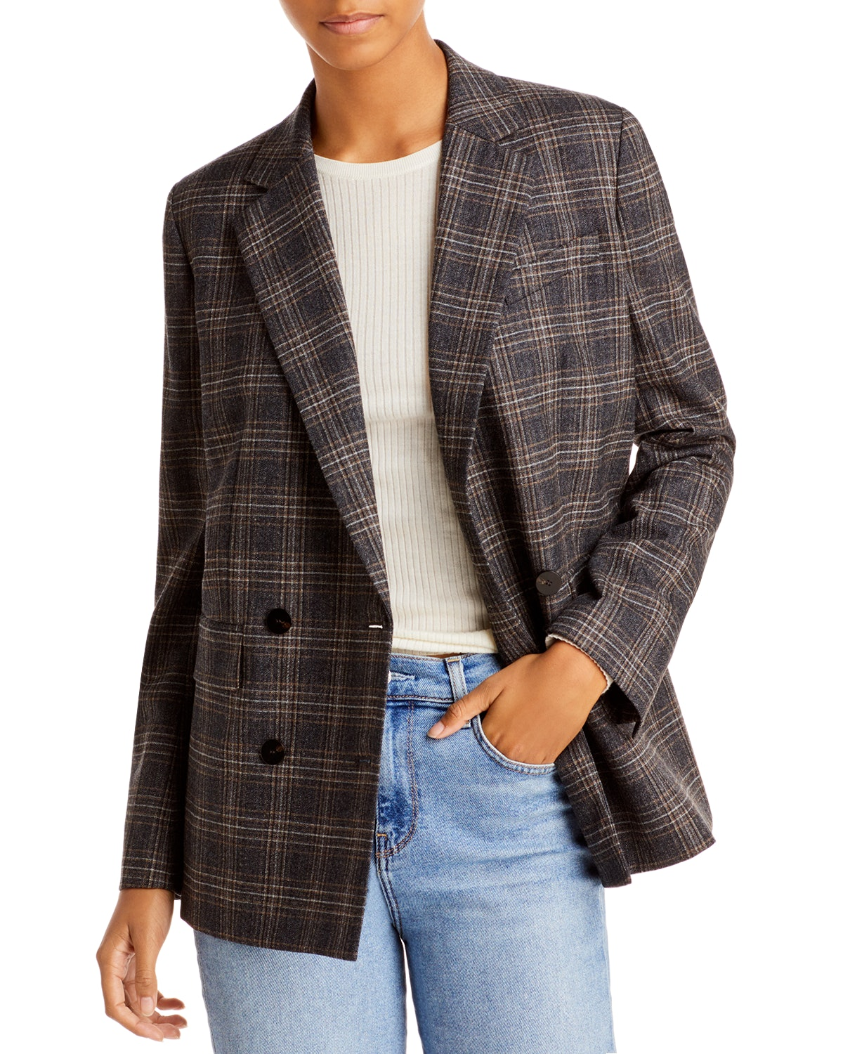 Double Breasted Plaid Jacket