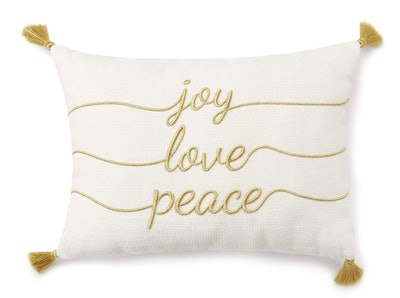 """Joy Love Peace"" Throw Pillow"