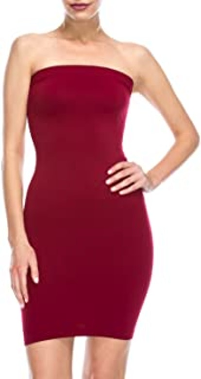 Kurve Women's Strapless Mini Dress - Sleeveless Bodycon Sexy Stretchy Tube Top Slip, UPF 50+ (Made in USA)