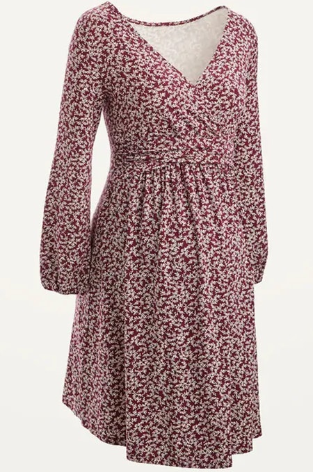 Maternity Cross-Front Jersey Long-Sleeve Dress in Burgundy Floral